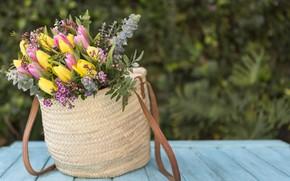 Wallpaper tulips, tulips, pink, yellow, bouquet, wood, flowers