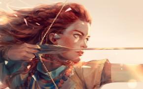 Picture girl, light, weapons, anime, bow, art, arrow, hunter, h@ge, aloy, horizon: zero dawn