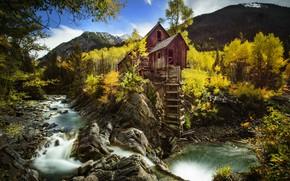 Wallpaper river, Crystal River, Crystal Mill, River Crystal, Crystal Mill, autumn, water mill, Crystal, rock, Crystal, ...