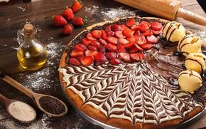 Picture chocolate, strawberry, ice cream, pizza, cream, dessert, pizza, dessert