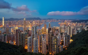 Wallpaper Hong Kong, Hong Kong, skyline, megapolis, Hong Kong