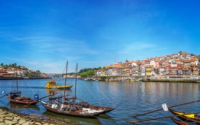 Picture the sky, the sun, river, home, boats, Portugal, Port