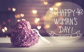 Wallpaper gift, March 8, hearts, bokeh, Women's Day