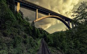 Picture the sky, bridge, railroad