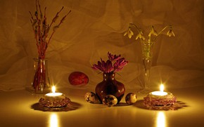 Picture flowers, fire, holiday, eggs, spring, candles, snowdrops, Easter, crocuses, Verba, Easter eggs, a bunch, holidays, …