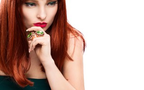 Picture girl, decoration, style, model, ring, hands, makeup, hairstyle, red hair