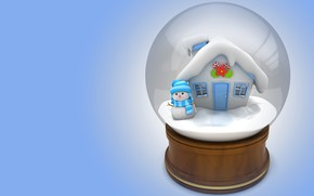 Picture winter, gift, house, snowman, children's, snow globe, 3D, art. New year