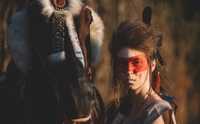 Picture girl, face, style, horse, model, horse, paint
