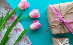 Picture flowers, gift, tulips, pink, wood, pink, flowers, romantic, hearts, tulips, gift, spring