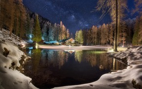 Picture forest, stars, the sky, winter, night, reflection, lake