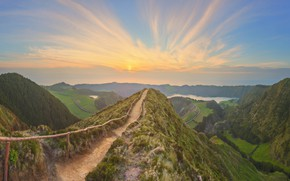 Wallpaper forest, the sky, the sun, clouds, trees, mountains, field, trail, valley, panorama, gorge, Portugal, lake, ...