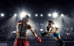 Picture light, girls, two, Boxing, gloves, braids, briefs, the ring, ropes, brunette, tribune, floodlight, bokeh, the …