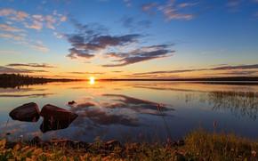 Picture sunset, lake, reflection, Setting Sun