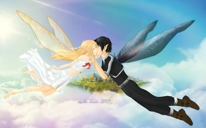 Picture kiss, anime, art, fairies, Sword art online, Sword Art Online, Asuna, Kirito
