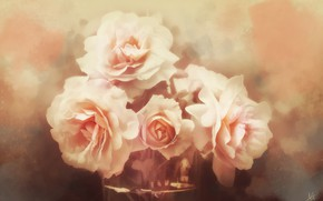 Picture flowers, roses, texture, art