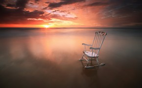 Picture sea, sunset, shore, chair