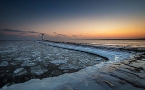 Picture sea, winter, lighthouse, shore, ice, sunset