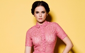 Picture yellow, pose, background, portrait, makeup, dress, brunette, pink, hairstyle, photoshoot, Zoey Deutch, Zoey Deutch, Just …