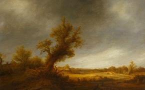 Picture landscape, tree, oil, picture, Adriaen van Ostade, Landscape with Old Oak tree