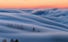 Wallpaper the sky, fog, morning, CA