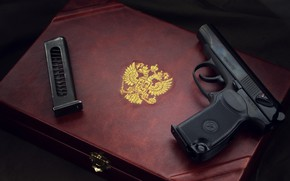 Wallpaper Makarov, The Coat Of Arms Of The Russian Federation, pistol, weapon, Makarov, the Makarov pistol, ...