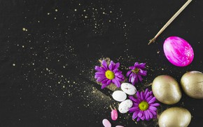 Picture flowers, holiday, eggs, Easter, chrysanthemum