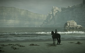 Picture sea, rocks, surf, rider, Shadow of the Colossus, In the shadow of colosa