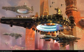 Picture birds, ships, tower, The Earthmen, Xterrian destroyer