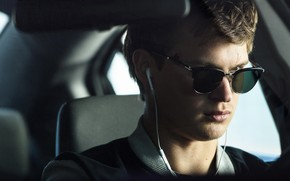 Picture auto, glasses, guy, Ansel Elgort, Baby Driver, Baby on the drive