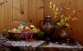 Picture autumn, leaves, apples, fruit, still life