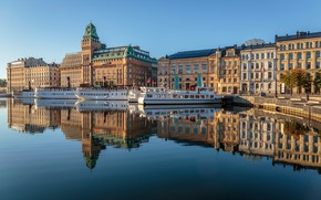 Picture the sky, water, the sun, reflection, river, home, morning, pier, Stockholm, Sweden, ships