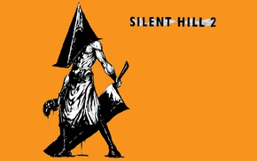 Picture monster, black and white, yellow background, cleaver, Pyramidology, Silent Hill 2, Pyramid Head, Silent Hill