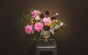 Picture flowers, background, Wallpaper, bouquet, vase, peonies