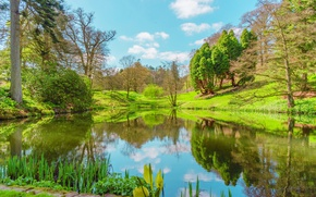 Picture the sun, landscape, lake, reflection, spring, UK, lake, scenery, spring, United Kingdom, Powys County Wales