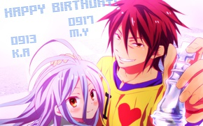 Picture anime, art, girl, guy, two, No Game No Life