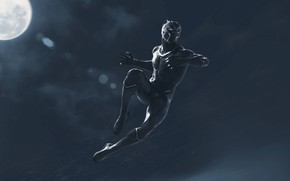 Wallpaper art, jump, the moon, fiction, night, black, Black Panther, Black Panther, costume