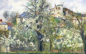 Picture landscape, nature, picture, Camille Pissarro, Flowering Trees. Spring. PONTOISE
