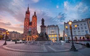 Picture building, area, Poland, lights, monument, Poland, the Church, Krakow, Main Market, Krakow, Main Square, St …
