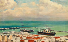 Picture sea, ship, home, picture, harbour, the urban landscape, Albert Marquet, Albert Marquet, Clouds and Smoke