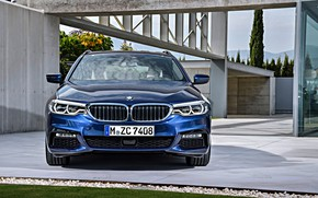 Picture lawn, the building, BMW, Parking, front view, universal, xDrive, Touring, 530d, 5, dark blue, 2017, …
