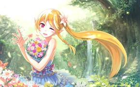 Picture flowers, nature, girl, elf