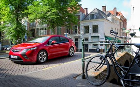 Picture auto, trees, red, bike, street, Opel, Ampera