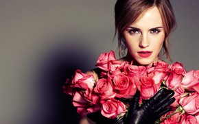 Picture look, flowers, background, roses, shadow, bouquet, makeup, actress, hairstyle, red, gloves, brown hair, beautiful, Emma …