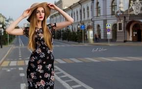 Picture the city, pose, street, model, hat, hands, dress, Cyril Zakirov, Sania Solar