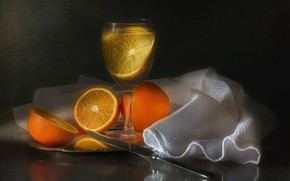 Wallpaper glass, oranges, drink