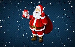 Picture Minimalism, Snow, New Year, Christmas, Snowflakes, Background, Santa, Holiday, Santa Claus, Gifts, Santa Claus, Grandpa