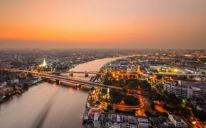 Picture bridge, the city, river, view, the evening, panorama, Thailand, Bangkok, Chao Phraya