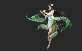 Wallpaper yonglin yao, flute, fantasy, art, girl
