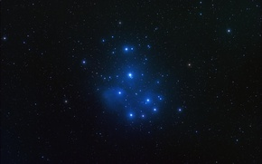 Wallpaper space, stars, M45, Pleiades