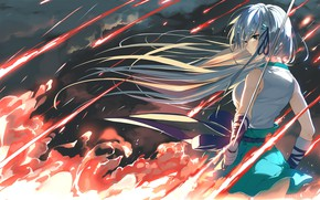 Picture girl, fire, sword, art